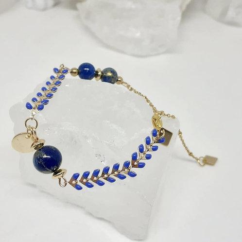 Bracelet Jade Mashan bleu nuit poudre d'or
