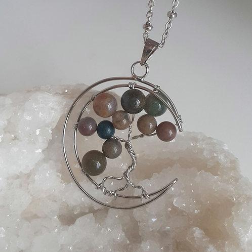 Collier pendentif Lune Arbre de Vie Agate Indienne