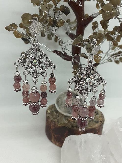 Boucles d'Oreilles pendentifs Quartz Fraise