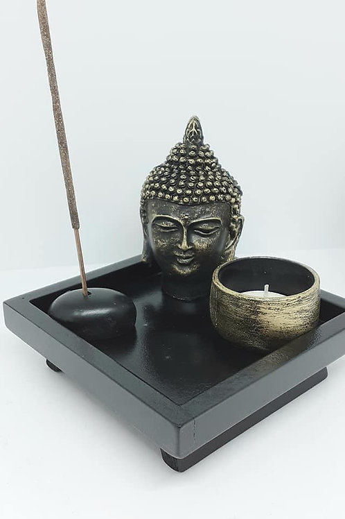 Tête de Bouddha porte bougie porte encens