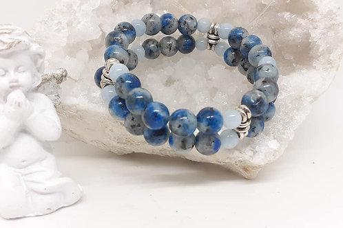 Bracelet double Azurite et Aigue Marine