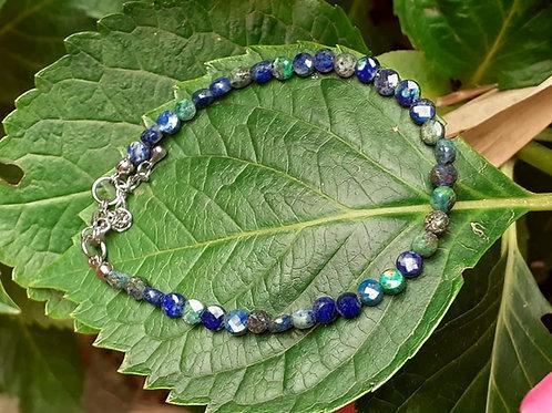 Bracelet Chrysocolle Lapis perles palets