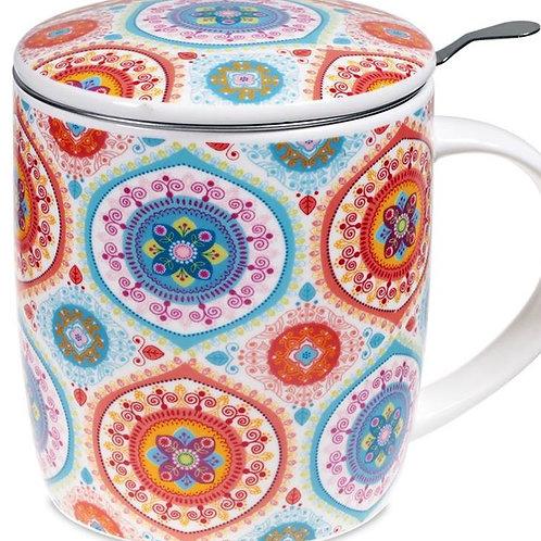 Coffret Mug Infuseur à Thé motifs Mandala Bleu