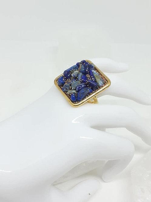 Bague carrée dorée Lapis Lazuli billes dorés