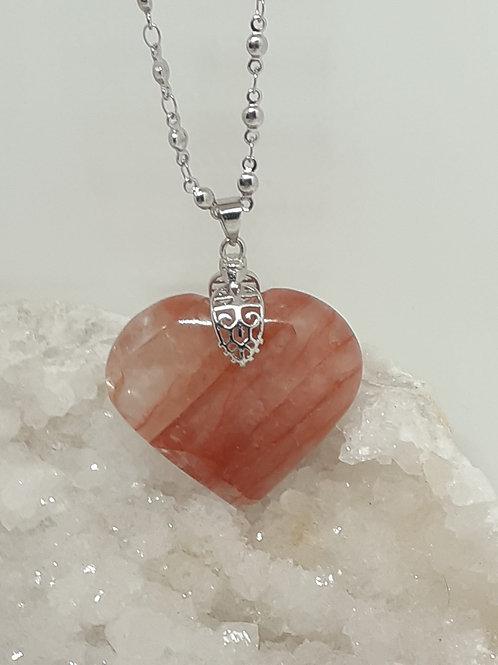 Collier Quartz Hématoide Coeur