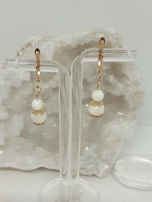 Boucles d'Oreilles Perles Nacre naturelle extra