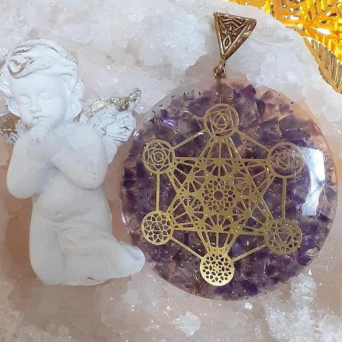 Collier pendentif ORGONITE CUBE DE METATRON AMETHYSTE