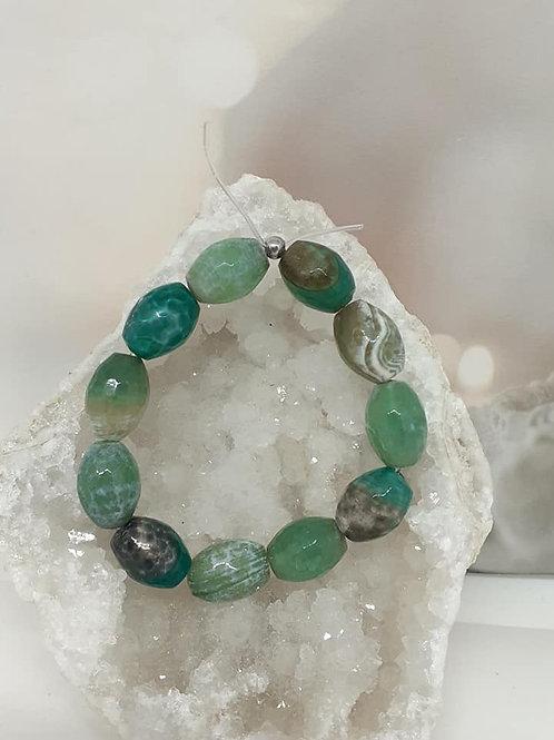Bracelet Agate Vert Menthe forme Olive