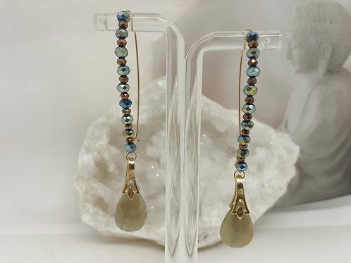 Boucles d'oreilles pendentifs Saphir Perles de verre