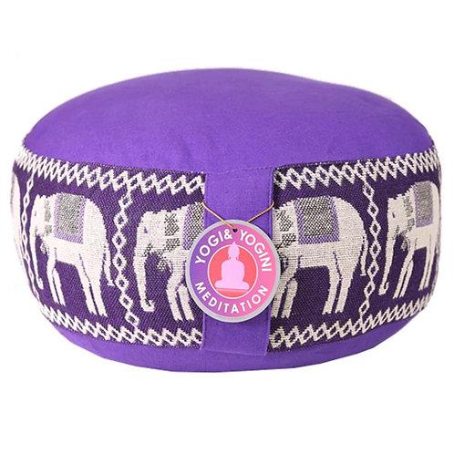Coussin méditation violet avec éléphants