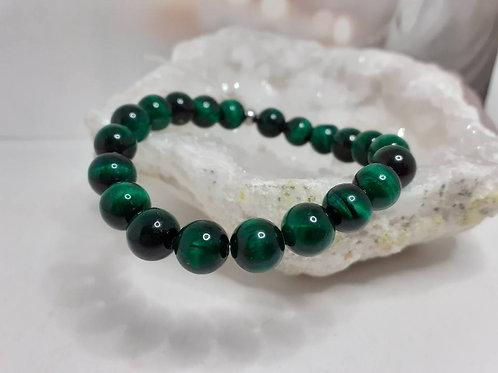 Bracelet Oeil de Tigre vert émeraude