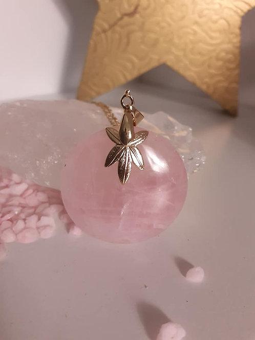 Collier pendentif Quartz Rose Extra
