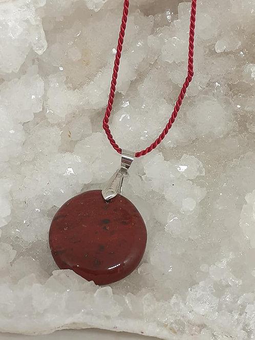 Collier pendentif Jaspe Rouge rond