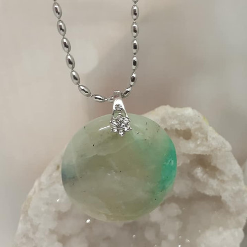 Collier pendentif Opale Verte
