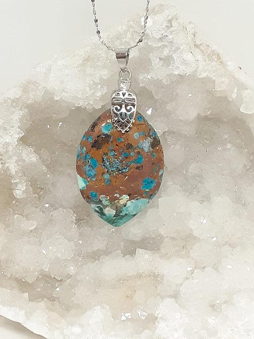 Collier pendentif  Marquise Chrysocolle multicolore