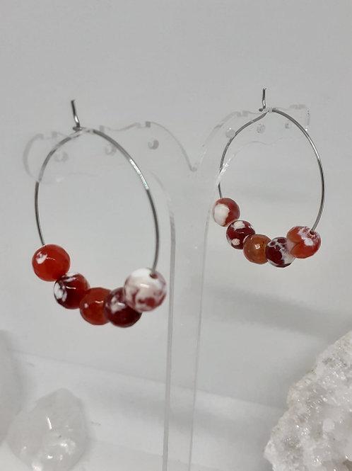 Créoles Agate rouge flocons