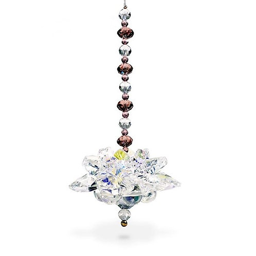 Pendule FENG SHUI lotus en Cristal avec son coffret