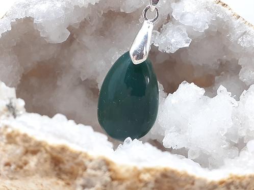 Collier pendentif goutte (22mm) Jade Extra