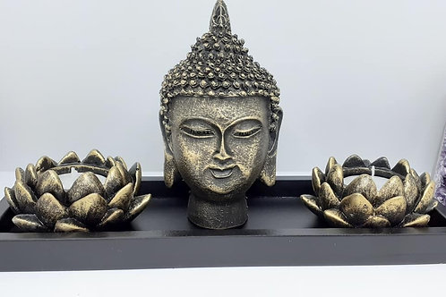 Bouddha avec portes bougies Fleurs de lotus
