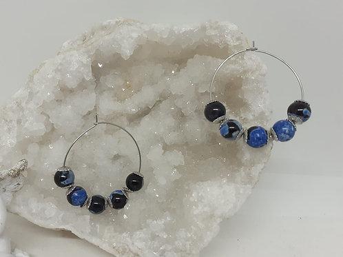 Créoles Agate bleu marbrée