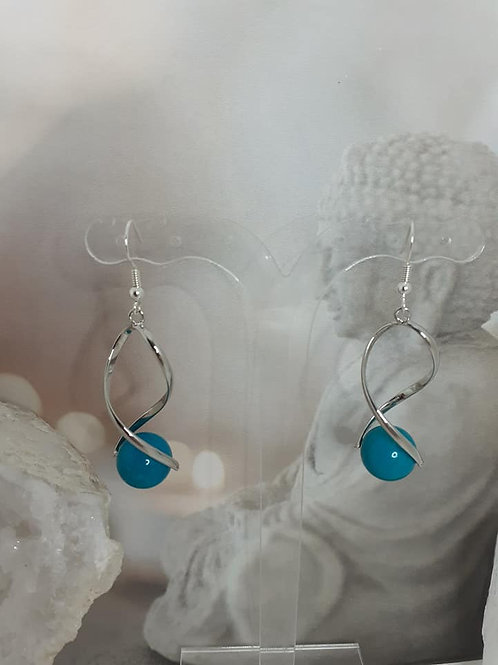 Boucles d'Oreilles perles TURQUOISE EXTRA