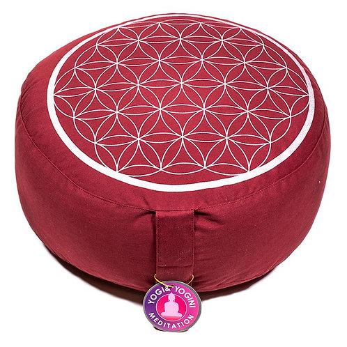 Coussin méditation Fleur de Vie rouge et argent