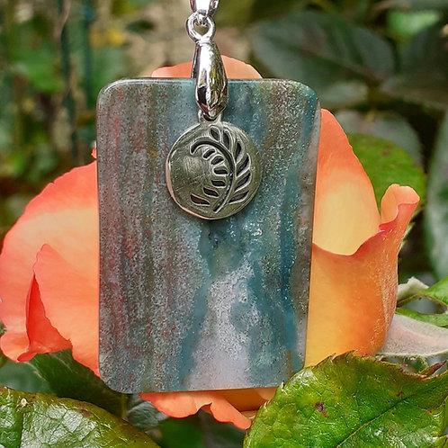 Collier pendentif Jaspe rectangulaire
