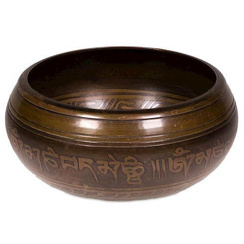Bol chantant Tibétain gravé Tara avec son maillet en bois