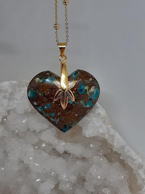 Collier pendentif  coeur Chrysocolle multicolore