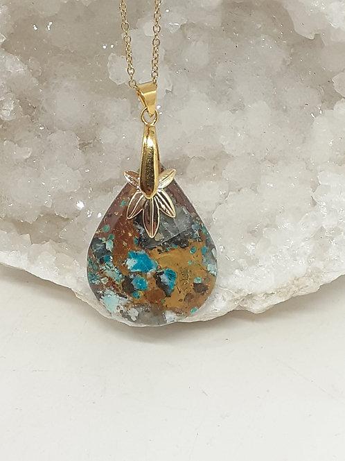 Collier pendentif  Goutte Chrysocolle multicolore