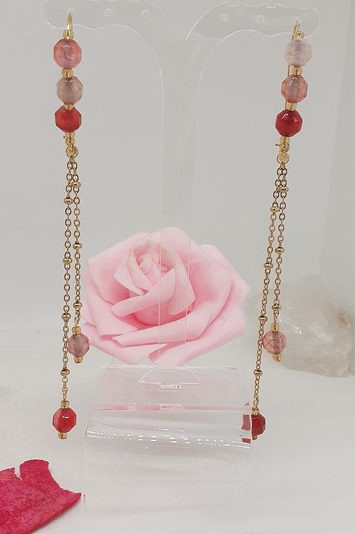Boucles d'Oreilles pendentifs Agate Rose