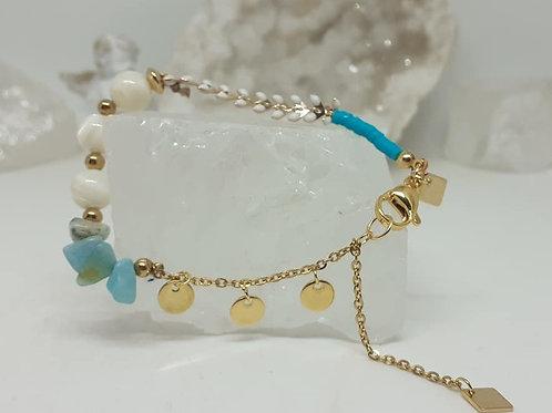 Bracelet Tendance Nacre et Amazonite