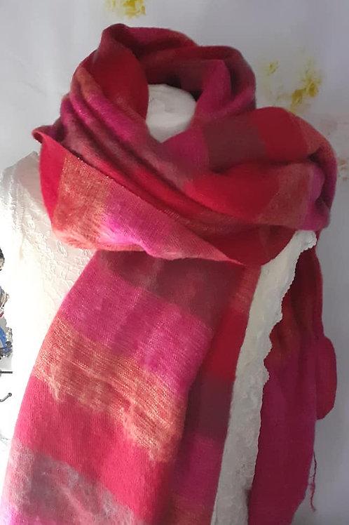 Châle XL rayé rose rouge orange
