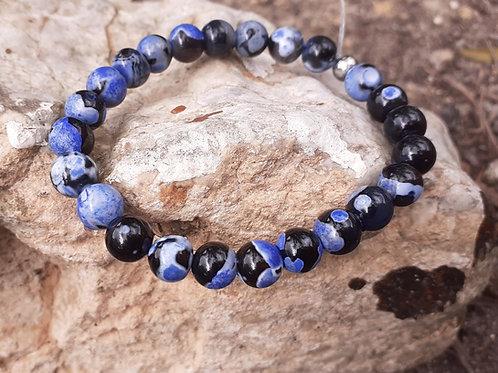 Bracelet  Agate bleu marbrée