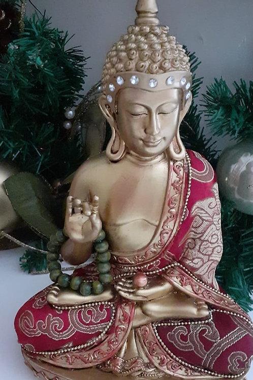 Bouddha Thaï or doré avec tissus rouge et or