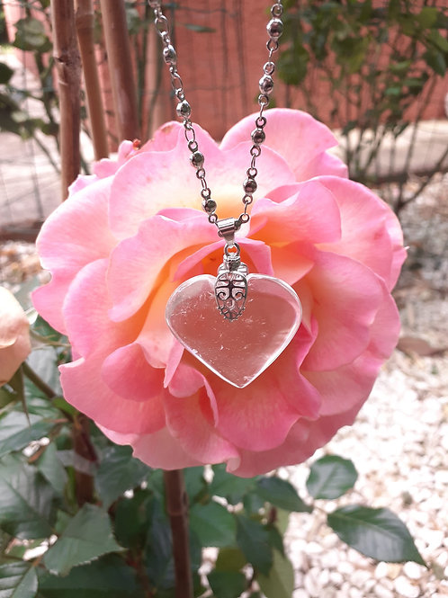 Collier Cristal de Roche Extra Coeur