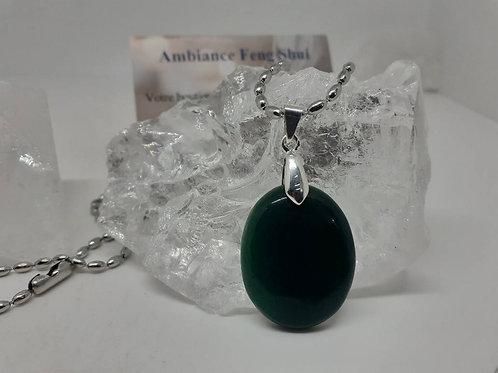 Collier pendentif ovale (27mm) Jade Extra