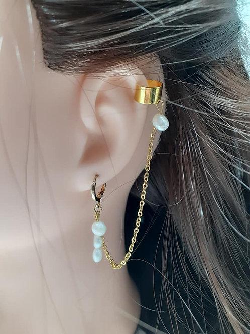 Boucles d'Oreilles Perles d'Eau douce et Bague d'oreille