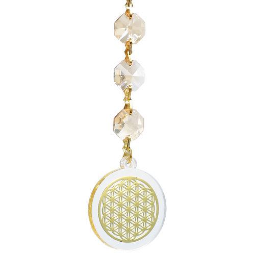 Suspension FENG SHUI fleur de vie en Cristal avec son coffret