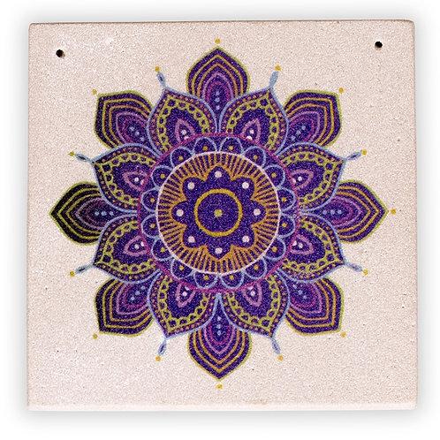 Porte Encens en Gré  décoré Fleur de Mandala