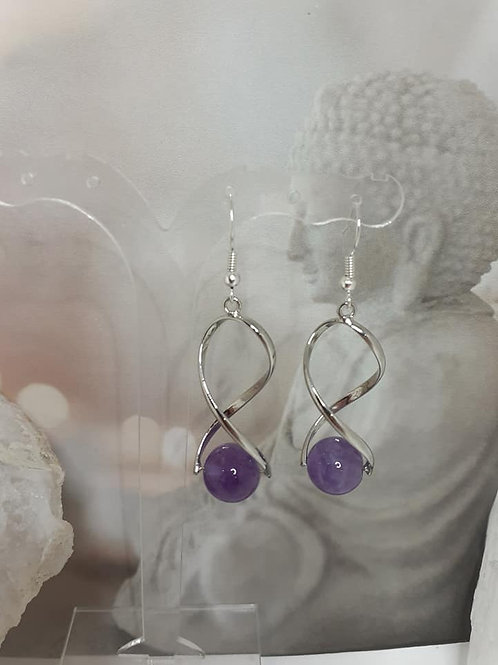 Boucles d'Oreilles perles AMETHYSTE EXTRA