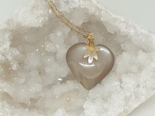 Collier pendentif Coeur Pierre de Lune Extra