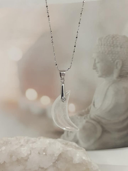 Collier pendentif Lune Cristal de Roche