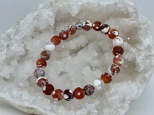 Bracelet Agate rouge flocons