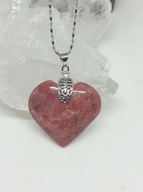Collier pendentif Coeur Rhodonite extra