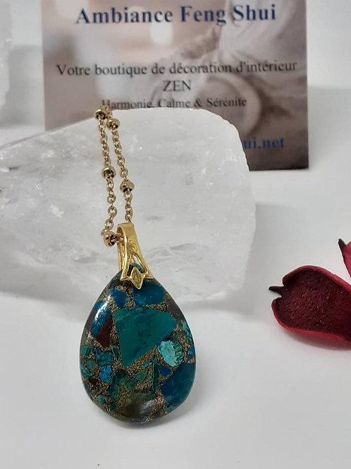 Collier pendentif goutte Malachite - 25 carats