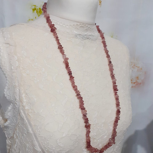 Collier sautoir / Bracelet 4 rangs Baroque Quartz Fraise