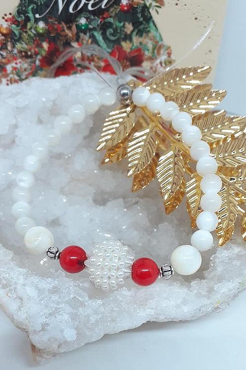 Bracelet NATURE Corail rouge et Nacre véritable