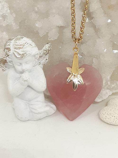 Collier Quartz Rose Extra Coeur