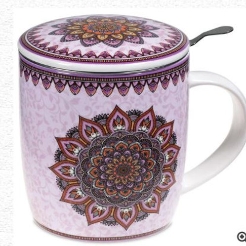 Coffret Mug Infuseur à Thé Mandala Violet